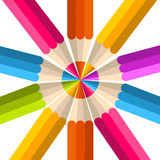 Colorful rainbow pencil circle Royalty Free Stock Photos