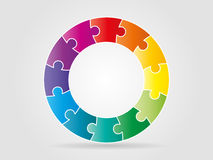 Colorful rainbow puzzle pieces forming a circle. Vector graphic template royalty free illustration
