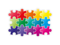 Colorful rainbow puzzle pieces forming a square. Vector graphic template royalty free illustration