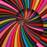 Colorful rainbow sharpen pencils spiral background pattern fractal. Pencils background pattern. School pencils rainbow spiral frac. Tal repetitive distorted Stock Photo