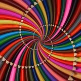 Colorful rainbow sharpen pencils spiral background pattern fractal. Pencils background pattern. School pencils rainbow spiral frac Royalty Free Stock Photo