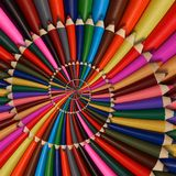 Colorful rainbow sharpen pencils spiral background pattern fractal. Pencils background pattern. School pencils rainbow spiral frac Stock Photography