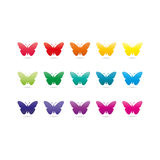 Colorful rainbow spectrum butterfly icons. Animal symbol. Stock Images