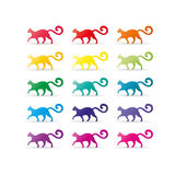 Colorful rainbow spectrum cat icons. Animal symbol. Royalty Free Stock Photo