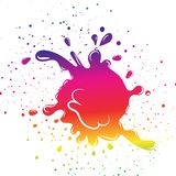 Colorful rainbow spectrum ink splash droplet by grunge brush dis stock illustration