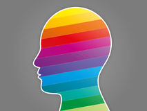 Colorful rainbow spectrum puzzle head presentation. Royalty Free Stock Photo