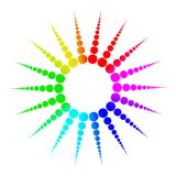 Colorful rainbow spheres molecule symbol isolated on white Royalty Free Stock Photo