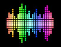 Colorful rainbow square blocks audio spectrum waveform. On black background Royalty Free Stock Image