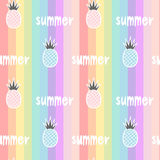 Colorful rainbow striped seamless pattern background illustration with pineapples and hand drawn lettering word summer Stock Photo