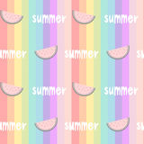 Colorful rainbow striped seamless pattern background illustration with watermelons slice and hand drawn lettering word summ Stock Images