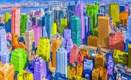 Free Colorful Rainbow Themed Diverse City Buildings Landscape Pop Art Style Royalty Free Stock Photography - 220484217