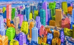Colorful rainbow themed diverse city buildings landscape pop art style