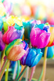 Colorful of rainbow tulips flower Stock Photography