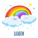 Colorful rainbow and two cute clouds in a cartoon style. Stock Image