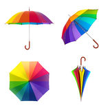 Colorful rainbow umbrella  on white background. 3D illustration . Stock Photo