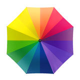 Colorful rainbow umbrella  on white background. 3D illustration . Stock Images