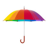 Colorful rainbow umbrella  on white background. 3D illustration . Royalty Free Stock Photo
