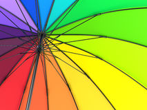 Colorful rainbow umbrella  on white background. 3D illustration . Royalty Free Stock Photos