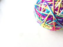 Colorful rainbow yarn ball cat toy white background pink yarn bright Stock Photos