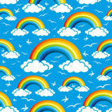 Colorful rainbows and clouds Royalty Free Stock Photo