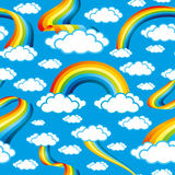 Colorful rainbows and clouds Royalty Free Stock Images
