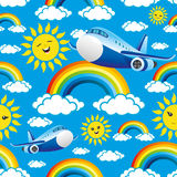 Colorful rainbows and clouds Royalty Free Stock Photos