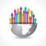 Colorful raised hand on the half earth symbol Royalty Free Stock Photo