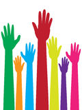 Colorful Raised Hands Royalty Free Stock Photo