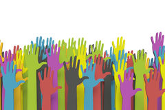 Colorful raised hands with clipping path Stock Photography