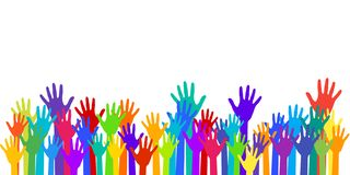 Free Colorful Raised Hands Group Art Therapy Vector Royalty Free Stock Images - 132689759
