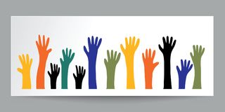 Colorful raised hands on white paper and real shadow. illustrato Stock Photo