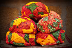 Colorful Rajasthani turbans. Beautiful decorated colorful turbans for sale in Jaisalmer, Rajasthan Royalty Free Stock Photography
