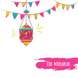 Colorful Ramadan Kareem Background with Lamps (Fanoos) and festive flag garlands. Royalty Free Stock Photo