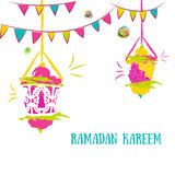 Colorful Ramadan Kareem Background with Lamps (Fanoos) and festive flag garlands. Can be used as Ramadan Kareem greeting Stock Photos