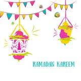 Colorful Ramadan Kareem Background with Lamps (Fanoos) and festive flag garlands. Can be used as Ramadan Kareem greeting Stock Photos