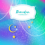Colorful Ramadan Kareem. Hanging arabic gold stars and crescent moon. Moon Ramadan. Space for text. Frame. Garland Stock Photo