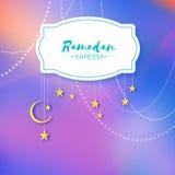 Colorful Ramadan Kareem. Hanging arabic gold stars and crescent moon. Moon Ramadan. Space for text. Frame. Garland Stock Photos