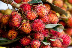 Colorful Rambutan in Cambodian Market Royalty Free Stock Image