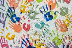 Colorful random hand print on white background Royalty Free Stock Photos