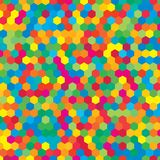 Colorful random hexagon mosaic or tiles background. Multicolor random hexagon mosaic, tiles background. Perspective banner hex. Background with polygonal vector illustration