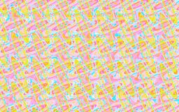 Colorful random pattern of circles and smooth lines. In pink, yellow and blue. geometric modern cheerful design for fabric, textile, backgrounds, backdrops Royalty Free Stock Images