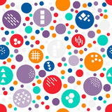 Colorful random polka dot of different size seamless pattern with texture of different geometric shapes: triangle, line, honeycomb. Square. Vivid polkadot Stock Images