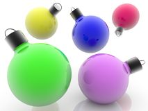 Colorful randomly flying Christmas decorations. On background in white color royalty free illustration