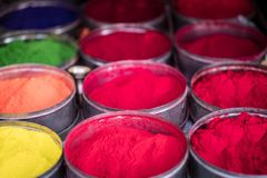 Colorful rangoli powder for sale on Kathmandu street market. Colorful rangoli powder in bowls sold on Kathmandu street market, Nepal Stock Photography