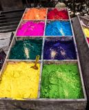 Colorful rangoli powder on Kathmandu street market. Colorful rangoli powder for sale on Kathmandu street market, Nepal Royalty Free Stock Photography