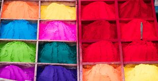 Colorful rangoli powder on Kathmandu street market, Nepal. Colorful rangoli powder for sale on Kathmandu street market, Nepal Royalty Free Stock Image