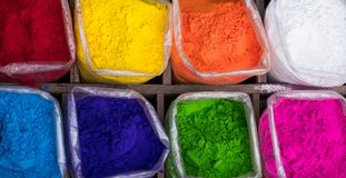 Colorful rangoli powder on Kathmandu street market, Nepal. Colorful rangoli powder for sale on Kathmandu street market, Nepal Stock Photo