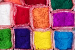 Colorful rangoli powder on Kathmandu street market, Nepal. Colorful rangoli powder for sale on Kathmandu street market, Nepal Royalty Free Stock Photos