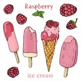 Colorful raspberries and ice cream. Ice cream melts in the summer heat. Stylish, colorful set on white background. Vector illustration in sketch style royalty free illustration