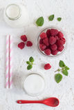 Colorful Raspberry Milk Drink Set Stock Images